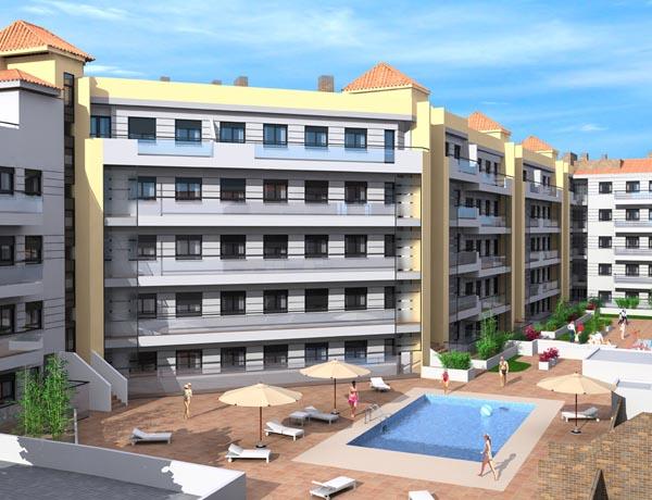 Fachada residencial jardines de toledo en Getafe